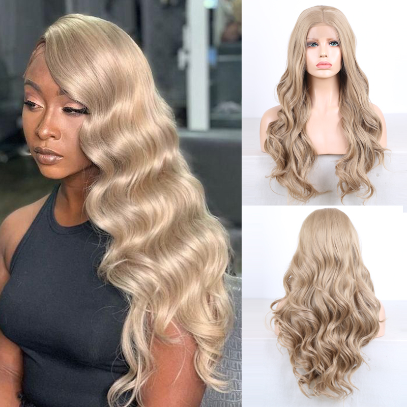 Charisma Long Body Wave Ash Blonde Wig Synthetic Lace Front Wig Heat Resistant Fiber Hair Synthetic Wigs for Black Women(China)
