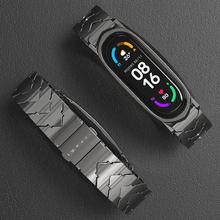 Correa de Metal para Xiaomi Mi Band 5 y 6, pulsera de acero inoxidable con NFC, versión Global, Compatible con 4 y 3