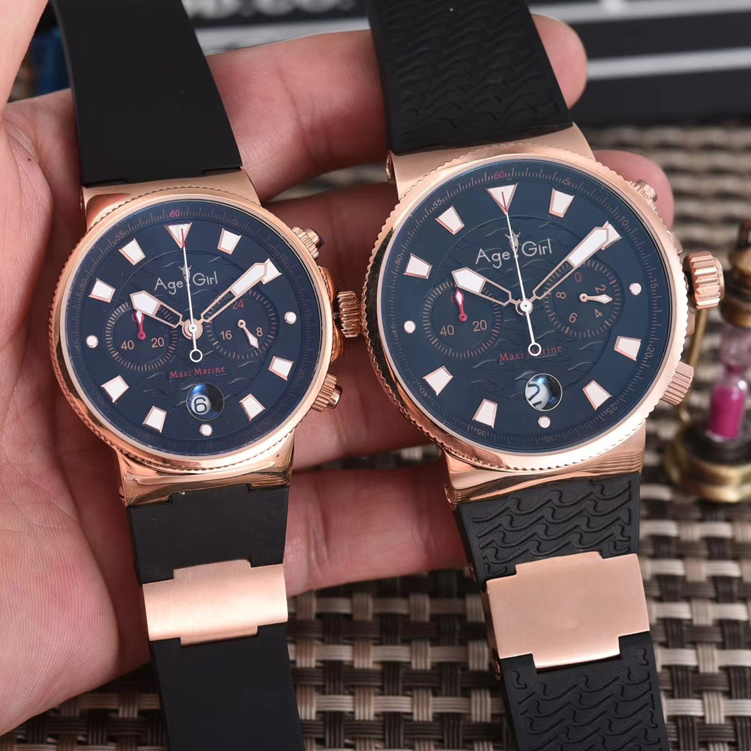 Luxury Brand New Men Womens Chronograph Rose Gold Black Blue Limited Silver Rubber Stainless Steel Watches Luminous Waterproof