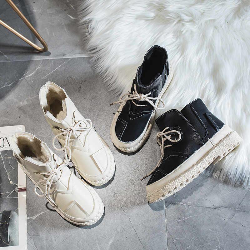 COOTELILI 2019 yeni moda kadın sıcak kar botları kış bayan botları elastik bant ayakkabı yarım çizmeler kadınlar için temel rahat