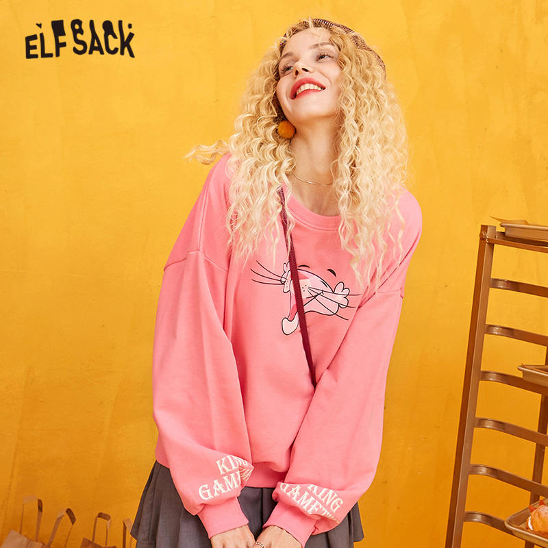 ELFSACK Pink Solid Cartoon Print Sweet Casual Pullover Sweatshirt Women 2019 Winter Pure Girly Loose Office Ladies Daily Tops