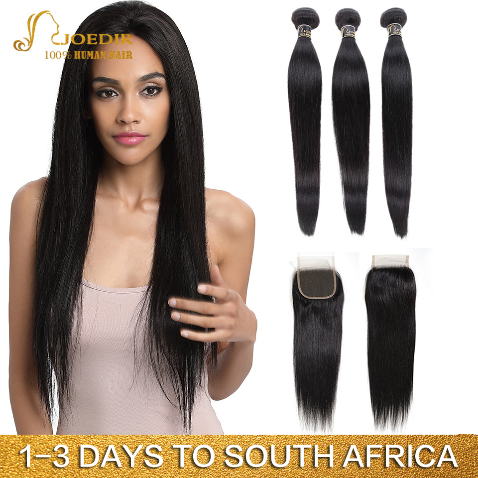 Joedir Hair Peruvian Straight Hair Bundles With Closure Human Hair Weave Bundles With Closure 3 Bundles With Closure Non Remy