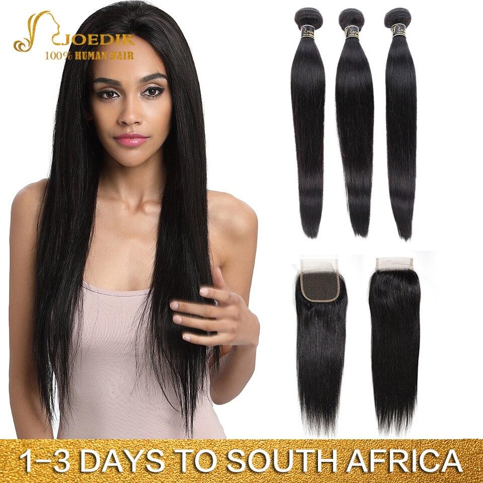 Joedir Hair Peruvian Straight Hair Bundles With Closure Human Hair Weave Bundles With Closure 3 Bundles With Closure Non Remy