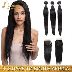 Image 1 - Joedir Hair Peruvian Straight Hair Bundles With Closure Human Hair Weave Bundles With Closure 3 Bundles With Closure Non Remy