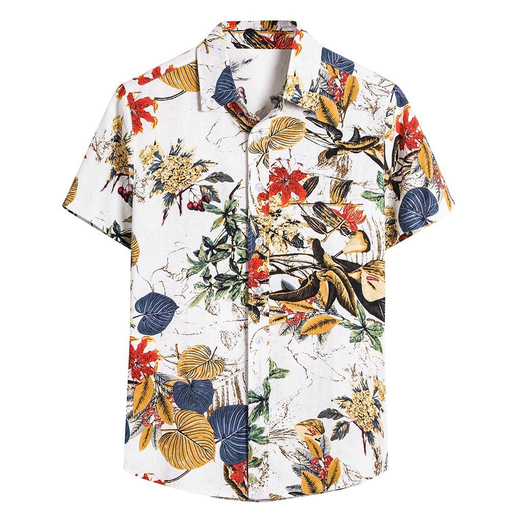 Summer Man Shirt Mens Ethnic Printed Stand Collar Cotton Linen Palm Tree Short Sleeve Loose Hawaiian Henley Shirt hawaiian shirt 1