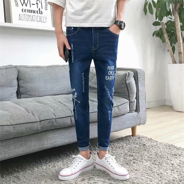 Hong Kong Style With Holes Jeans Korean-style Trend Slim Fit Pants Versatile Casual Men Capri Pants New Style 2018