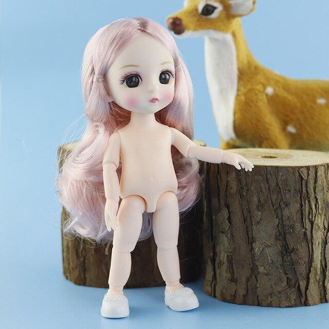 Nowy 13 ruchome przegubowe 16cm 1/8 lalki Mini BJD dziecko różowy żółty srebrny włosy nagie kobiety ciało modne lalki zabawki dla dziewczyn prezent