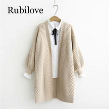 Rubilove Spring Sweater Cardigans Women 2019 V neck Lantern Sleeve Open Stitch Loose Jacket Cheap Clothes Female Knit Co