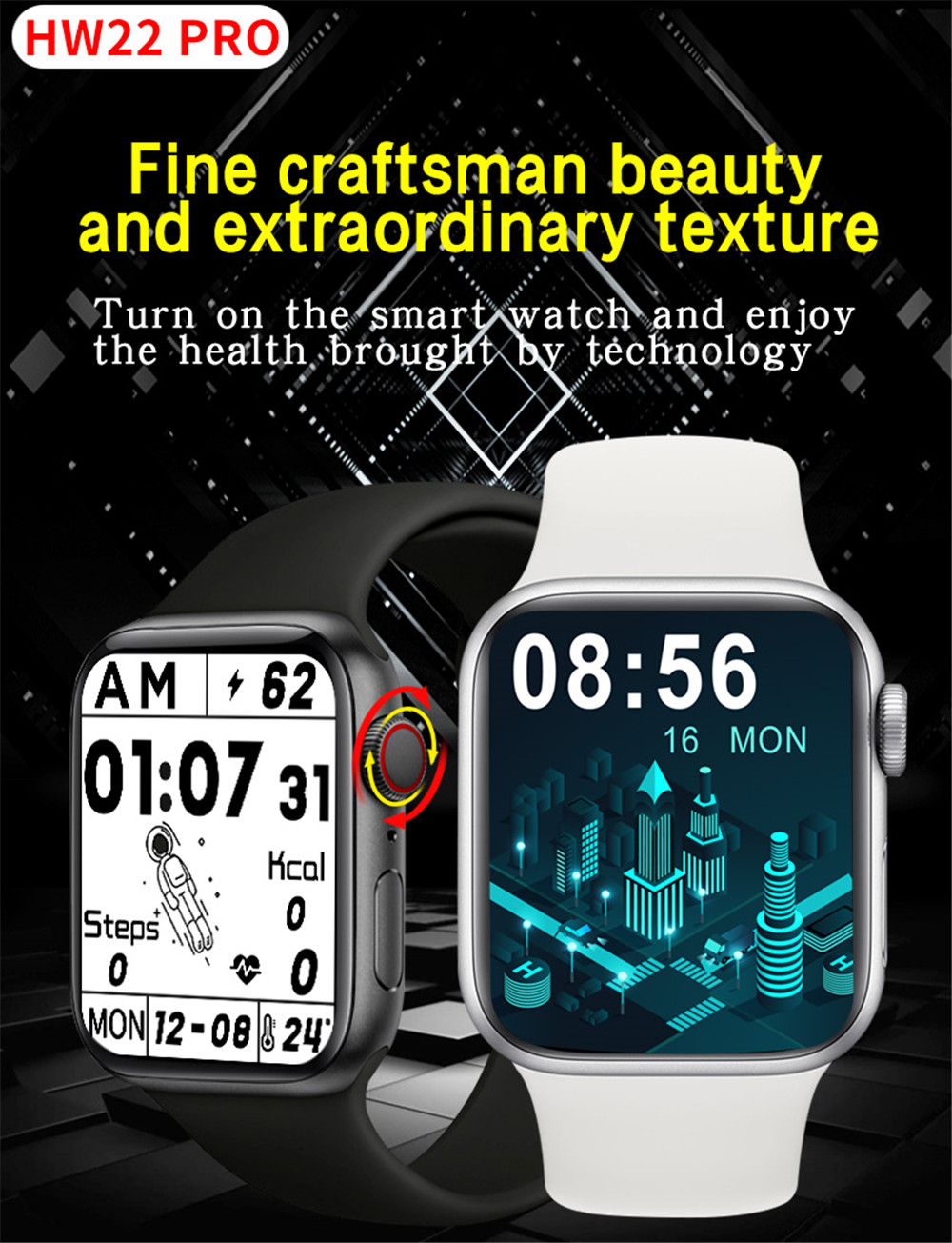 Hced6d8e2d1c148668243e64d879e968a1 2021 HW22pro Smart Watch Men Women Split Screen Display Original Smartwatch Body Temperature Monitor BT Call For Android IOS IWO