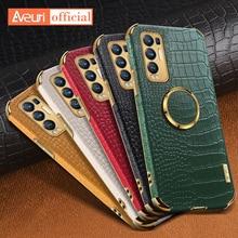 Luksusowe skórzane etui na telefony dla OPPO znajdź X3 Pro X2 Lite Neo A52 A72 krokodyl pokrywy skrzynka dla OPPO Reno 5 Pro Plus 5G 3 4 Pro 4Z