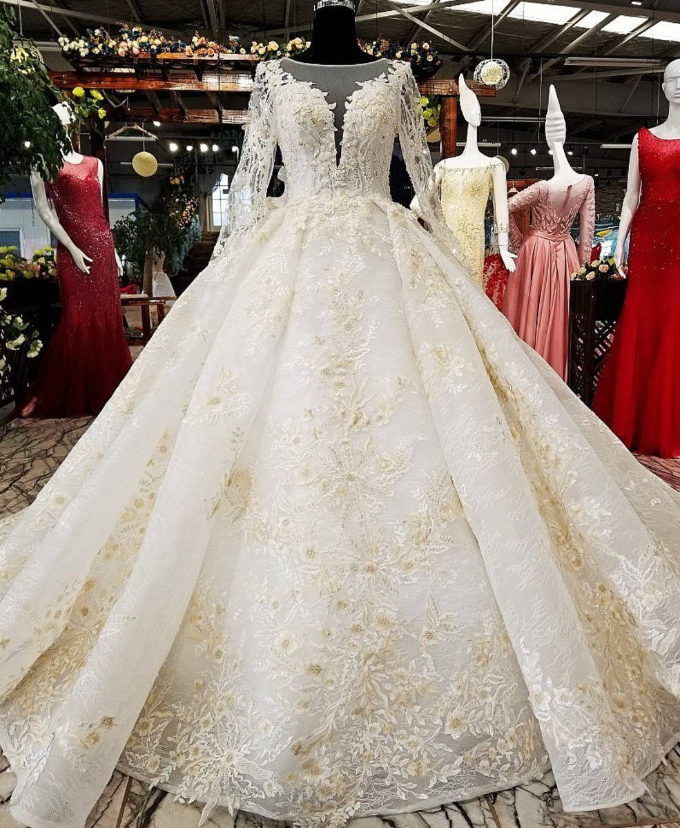 Champagne Lace Ball Gown Wedding Dress 19 O Neck Beaded Long
