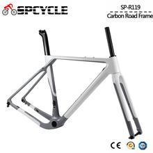 Spcycleエアロフルカーボン砂利自転車シクロクロス自転車フレームディスクブレーキ道路自転車フレームセットフロント100*12ミリメートルリア142*12ミリメートル