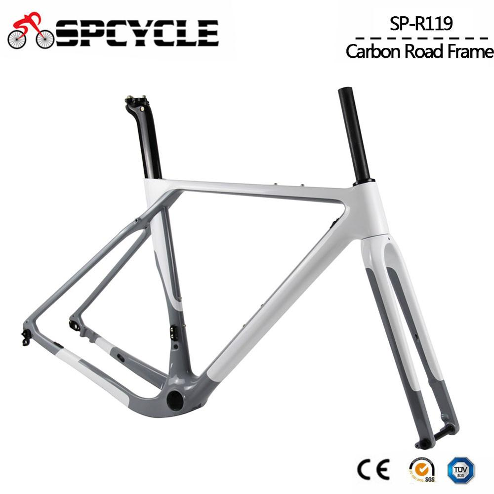 Spcycle Aero Full Carbon Gravel Bike Cyclocross Bicycle Frame Disc Brake Road Bicycle Frameset Front 100*12mm Rear 142*12mmBicycle Frame   -
