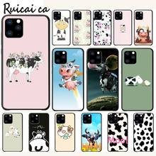 Cute Cartoon Black And White Cow Luxury Phone Case Funda For Iphone 5s Se 6 6s 7 8 Plus X Xs Max Xr 11 Pro Max Cases Cover kisscase natural wood bamboo phone cases for iphone x xs max xr cover plain phone cases for iphone 5 5s se 6 6s 7 8 plus funda