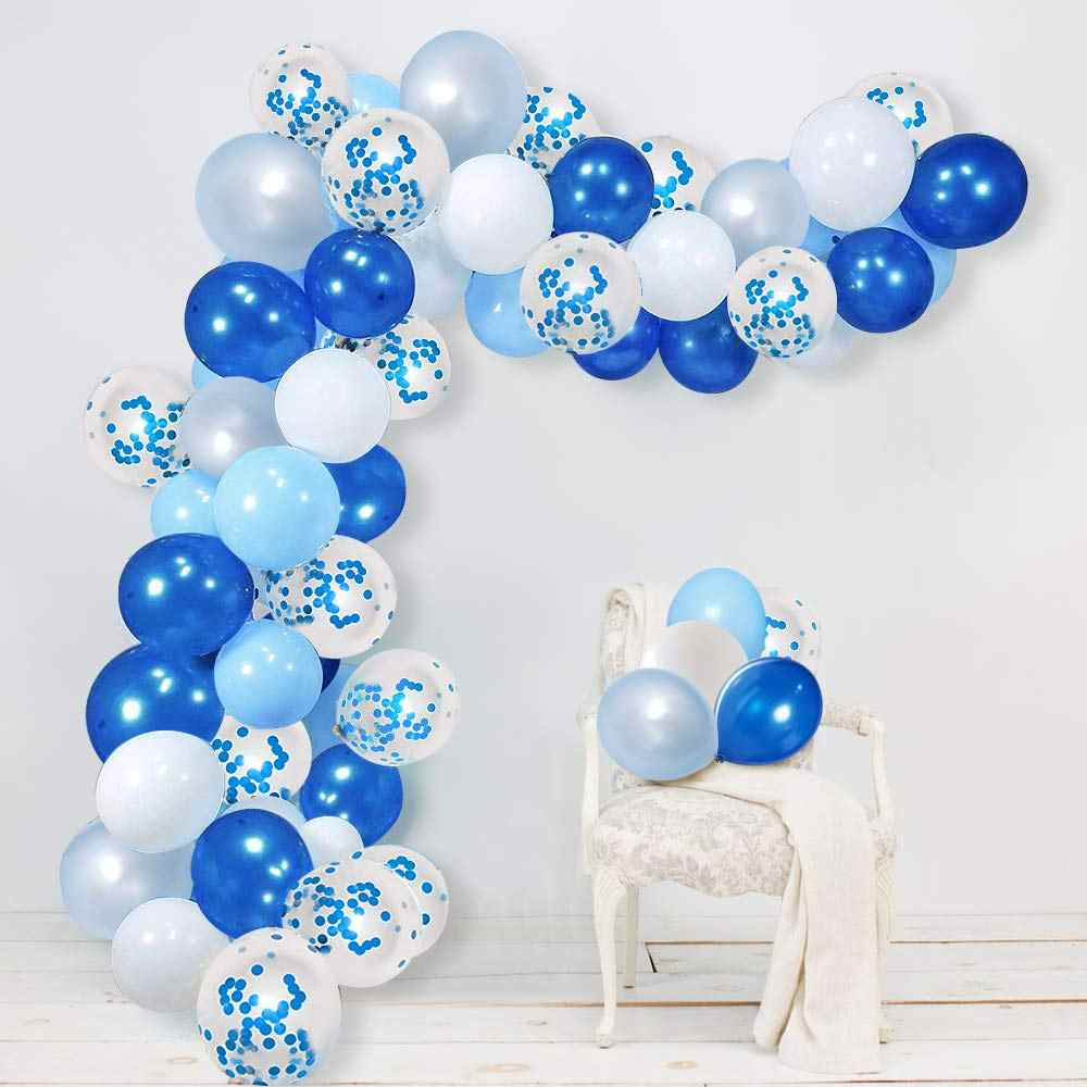 50pcs 12 inch DIY Home Decorations Balloon Garland Arch Kit Blue and White for Boy Baby Shower Birthday Wedding Party Supplies