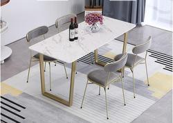 الحديثة و التعاقد المعادن القدم الشمال منضدة رخامية الأبيض المنزلية استخدام صغيرة الأسرة كرسي مزيج مستطيلة طاولة طعام