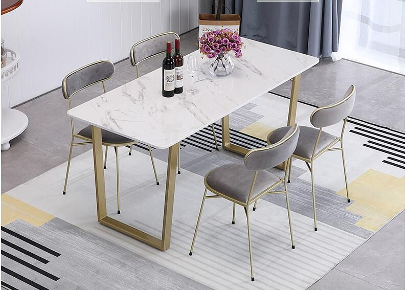 Modern And Contracted Metal Foot Nordic Marble Table White Household Use Small Family Chair Combination Rectangular Dining Table