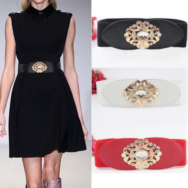 Fashion Wild Trend Ladies Girdle, Large Rhinestones Pierced Engraved Double Love Belt Buckle Dress Down Jacket Women's Belt
