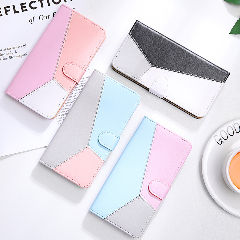 Color Block Leather Case For <font><b>Samsung</b></font> S20 Ultra <font><b>S10</b></font> Phone Case For <font><b>Samsung</b></font> Galaxy <font><b>S10</b></font> Lite S9 S8 Plus S7 Edge Note 10 <font><b>Flip</b></font> <font><b>Cover</b></font> image