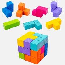 Yeni çocuk ahşap oyuncaklar 3D bulmaca mantık oyun 3D mekansal düşünme DIY masa oyunu ahşap yapbozlar küp eğitici oyuncaklar çocuklar için