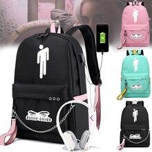 New stranger things backpack school backpacks for teen girls Student Backpack Letters Print School Bag Girls Ribbons