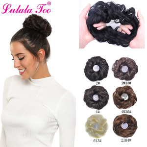 Синтетический кудрявый грязный розовый пучок волос штук резинки шиньон эластичные волосы канатная Резиновая лента Конский хвост волос для...