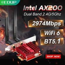 Edup 3000mbps wifi 6 pci express bluetooth 5.1 adaptador banda dupla 2.4g/5ghz 802. 11ac/ax intel ax200 pcie placa de rede sem fio