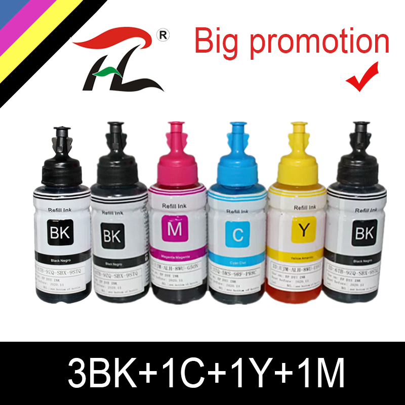 HTL 6PK 70ml Dye Ink Refill Ink Compatible For Epson L200 L210 L222 L100 L110 L120 L132 L550 L555 L300 L355 L362 Printer Ink