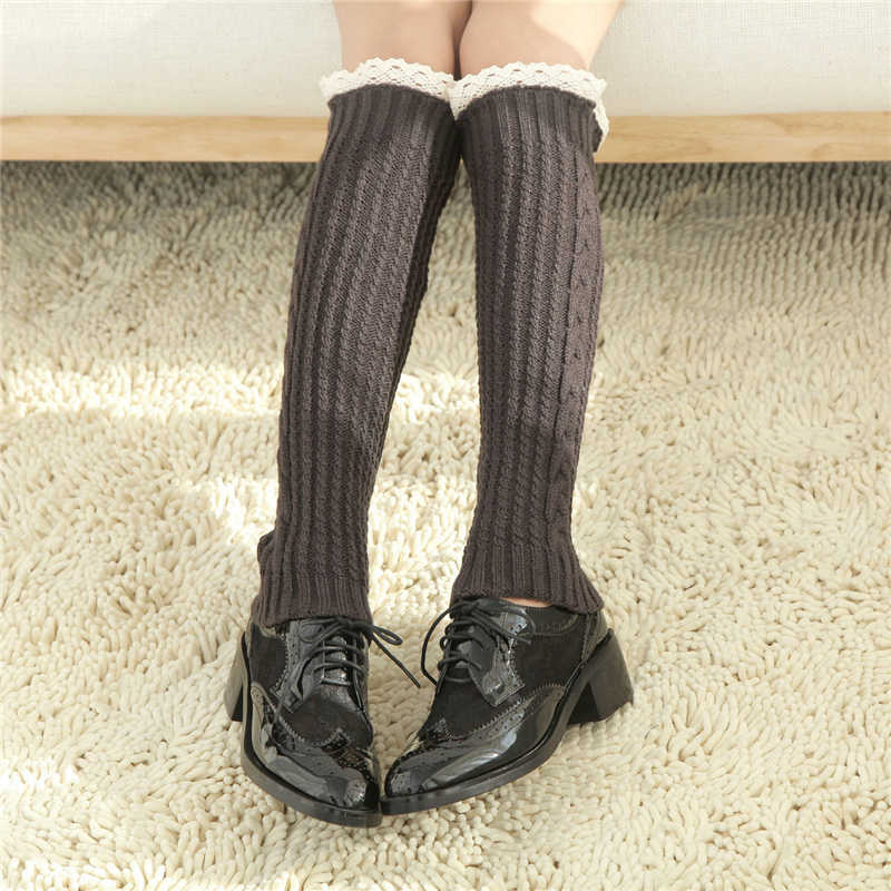 ผู้หญิงฤดูหนาวชุดชั้นในผ้าฝ้ายลูกไม้ขาอุ่นน่ารักน่ารัก Kawaii ถุงเท้าสุภาพสตรี polaina Kneepad Streetwear