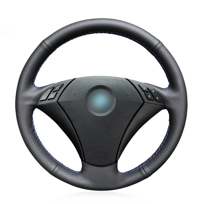 Black Artificial Leather Car Steering Wheel Cover for <font><b>BMW</b></font> 530 523 523li 525 520li 535 <font><b>545i</b></font> <font><b>E60</b></font> image