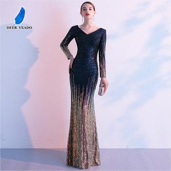 DEERVEADO Long Sleeve V Neck Mermaid Evening Dress Long Formal Dress Party Evening Gown Robe De Soiree XYG839