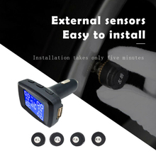 Автомобильное беспроводное оборудование шин Давление монитор Системы ЖК-дисплей Дисплей+ 4 внешних датчики сигаретный прикуриватель, зарядка