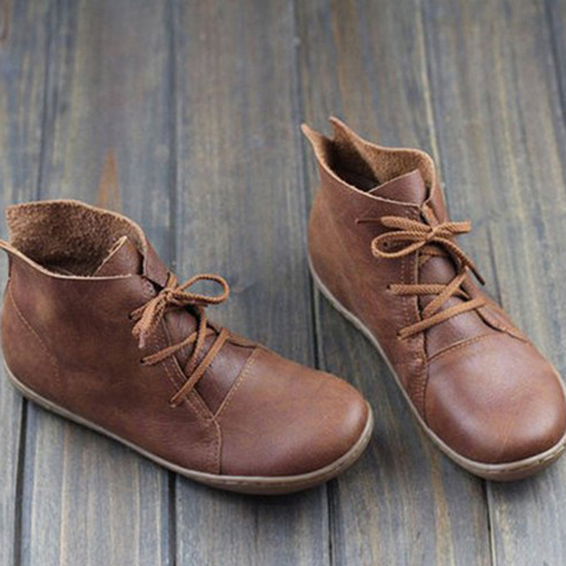 GAOKE Women Genuine Leather Ankle Boots