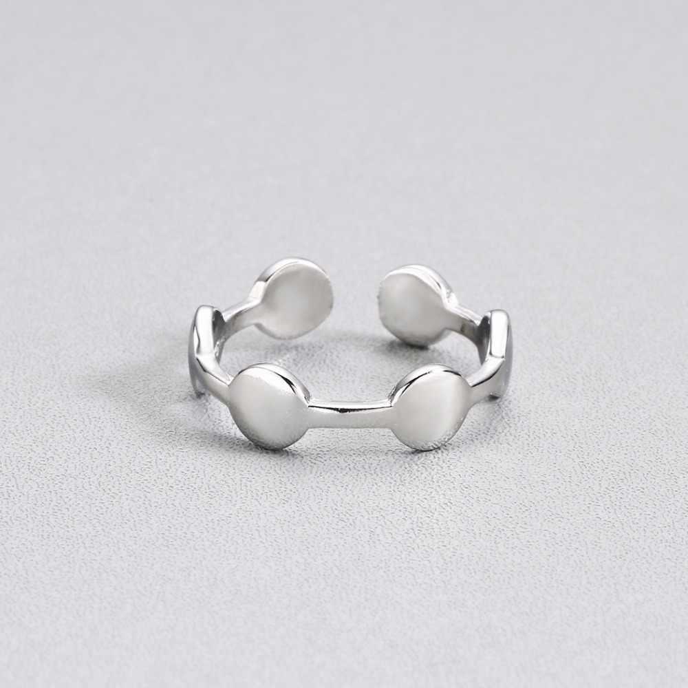 Трендовые круглые простой перстень для женщин регулируемые обручальные ювелирные изделия Рождественский подарок серебряные геометрические кольца