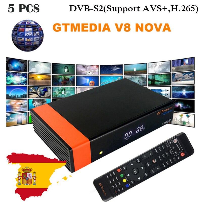 5 pçs/lote GtMedia V8 NOVA S2 DVB Full HD 1080p Receptor de Satélite Caixa de TV decodificador Wi-fi Embutido Suporte H.265 GTMedia V9 Super