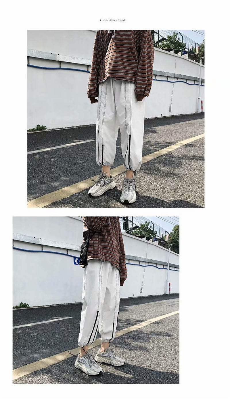 Summer Loose Casual Ankle-Length Pants Thin Men`s Women Jogger Pants Fashion Teens Boys Girls Joggers Sports Striped Trousers (12)