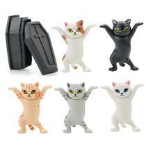 Brand New High Quality The Cat Lifted The Coffin Dancing Cat Pen Holders Mobile Phone Holder Handmade Model Ornaments