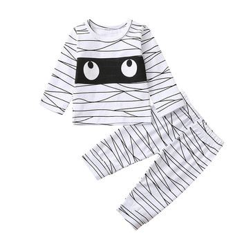 Nowonarodzone dziecko dziewczynka chłopiec maluch wokół szyi garnitur kreskówka słodkie wyrażenie wokół szyi z długim rękawem drukowane pasiaste spodnie garnitur dla dzieci tanie i dobre opinie ARLONEET Moda CN (pochodzenie) O-neck Swetry Child Clothes Set COTTON Poliester Chłopcy Pełna REGULAR Pasuje prawda na wymiar weź swój normalny rozmiar