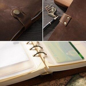 Image 2 - En moda hakiki deri yüzük Notebook A5 planlayıcısı pirinç bağlayıcı Spiral eskiz defteri Snap düğmesi kişisel günlüğü kırtasiye