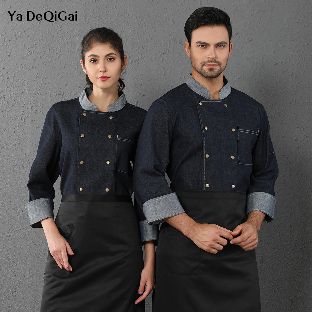 Long Sleeve Chef Denim Jackets Restaurant Hotel Kitchen Chef Work Shirts Uniforms Waitress Clothes M-4XL Catering Chef Coats New