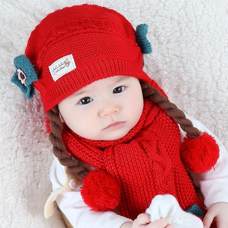 Cotton Wool Knitted Baby Princess Girl Braid Ball Hat Scarf  Winter Warm Cute  Children Two Piece Set
