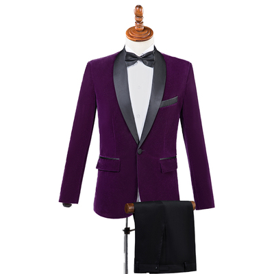 3 Day Shipping Men Autumn Winter Velvet Wine Red Fashion Leisure Suit Jacket Wedding Groom Singer Slim Fit Blazer Coat Masculino