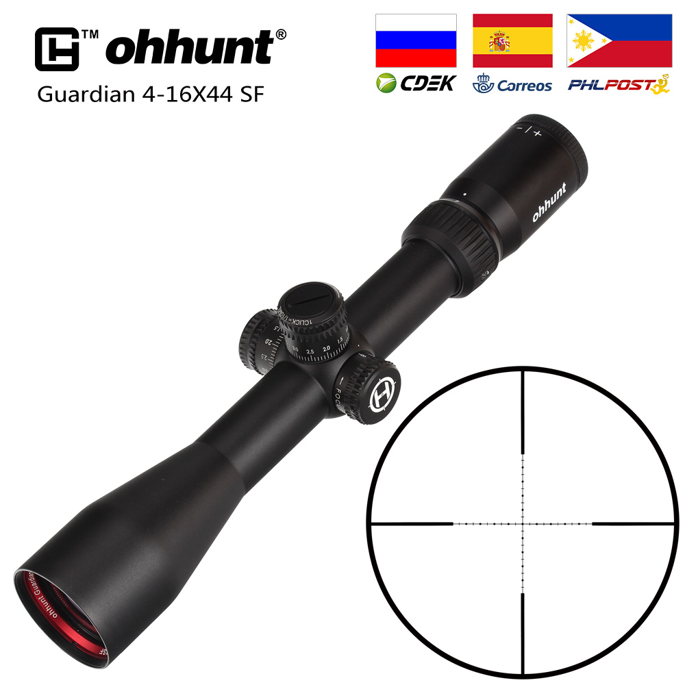 Hunting Ohhunt Guardian 4-16X44 SF Rifle Scope Side Parallax 1/2 Half Mil Dot Reticle Turrets Lock Reset Tactical Riflescopes