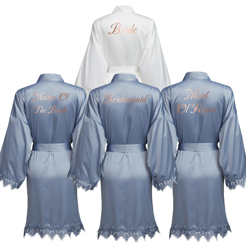 YUXINBRIDAL Dusty Blue New Matt Satin Lace Robe With Trim Gown Bridal Wedding Bride Robes Bridesmaid Kimono Robe  Bridal Robes