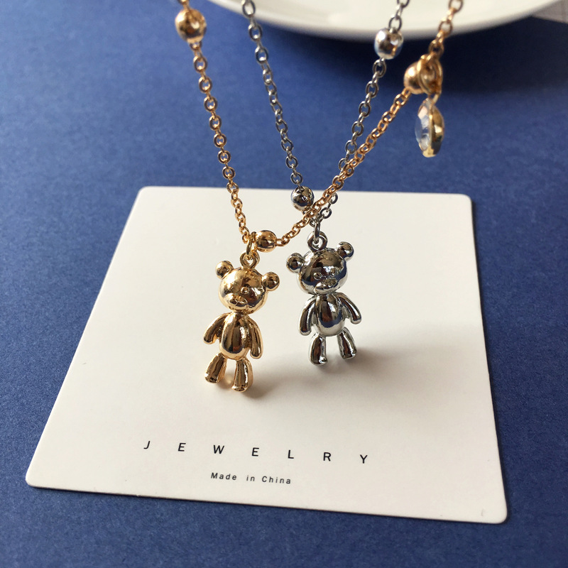 Creative Little Bear Pendant Necklace Gold Silver Color Chains Sweater Necklaces For Women Couple Jewelry Wholesale