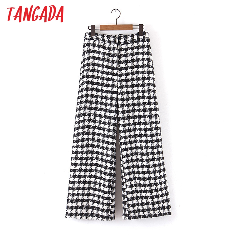 Tangada Women High Waist Plaid Wool Pants For Winter Thick Warm Elegant Office Ladies 2019 Pocket Long Pants Trousers Qb25