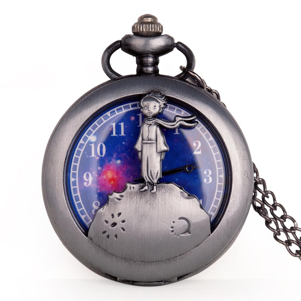 New Classic The Little Prince Movie Planet Blue Bronze Vintage Quartz Pocket FOB Watch Gifts For Boys Girls Kids Reloj De Bolsi
