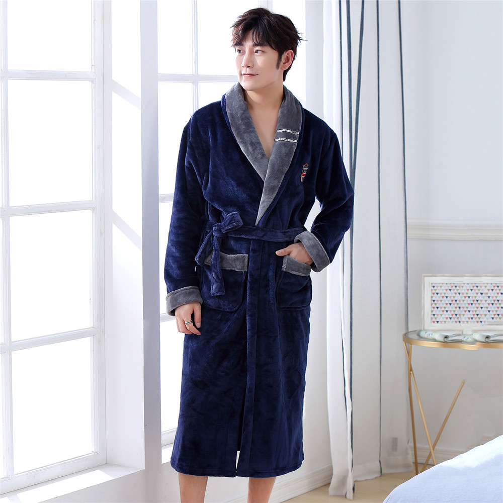 Male Full Sleeve Solid Colour Home Dressing Gown Winter Warm New V-Neck Intimate Lingerie Pajamas Sleepwear Kimono Robe Gown
