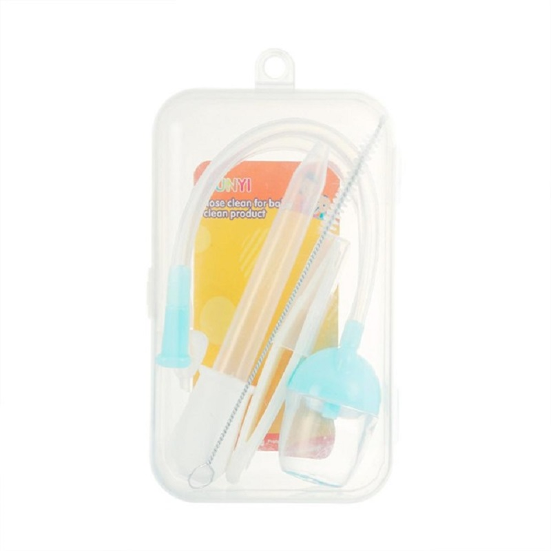 Kidlove 5Pcs/Set Mouth Suction Nasal Aspirator Feeding Device Nose Clip Straw Brush PP Box Set For Baby Infant