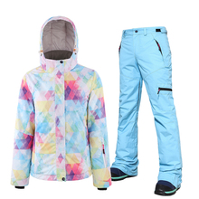 Ski Suit Women Winter Snow Clothing Set Thick Waterproof Female Ski Jacket and pants Set -30 Degree Skiing And Snowboarding Suit cheap searipe COTTON Polyester Acrylic Hooded 1589 Fits true to size take your normal size Jackets Breathable Windproof
